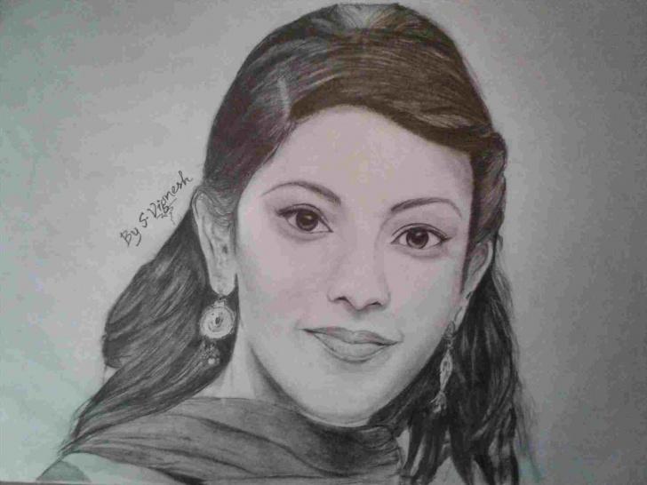 Excellent Kajal Agarwal Sketch Courses Kajal Agarwal Pencil Drawing Images