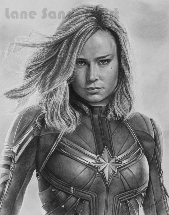 Excellent Marvel Drawings In Pencil Techniques Pencil Portrait Drawing Of Captain Marvel (Brie Larson). | Portrait Pictures