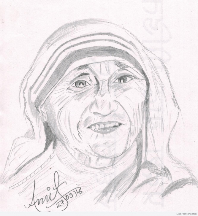 Excellent Mother Teresa Pencil Sketch Courses Pencil Sketch Of Mother Teresa | Desipainters Photos
