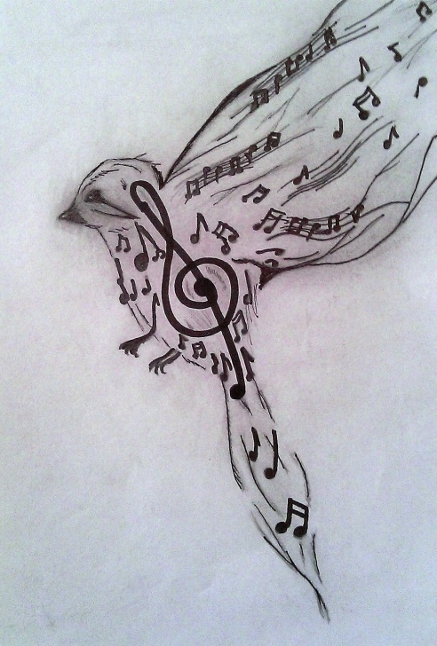 Excellent Music Drawings In Pencil for Beginners Art, Bird, Black, Clef, Draw, Drawings, Music, Pencil, White - Image Picture