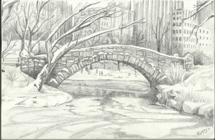 Excellent Park Pencil Drawing Lessons Move Art People, Nothing To See Here: Central Park Bridge Study Pic