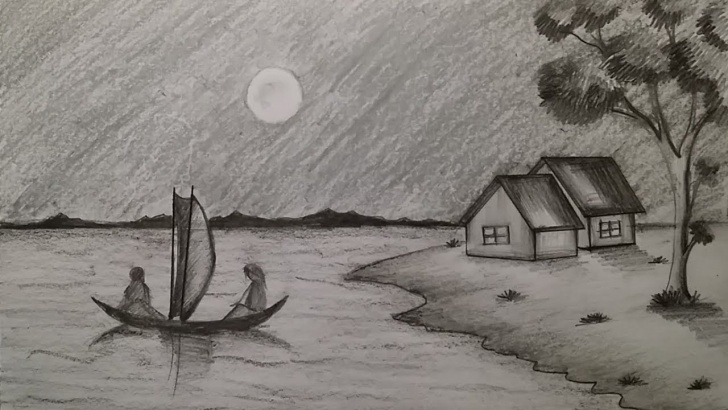 Excellent Pencil Drawing Of Night Scene Techniques for Beginners How To Draw Moonlit Night Scenery With Pencil Sketch Step By Step Photos