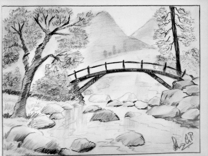 Excellent Pencil Drawings Of Nature Scenes Simple Nature Scenery Pencil Sketch | Scenery | Pencil Drawings Of Nature Photo