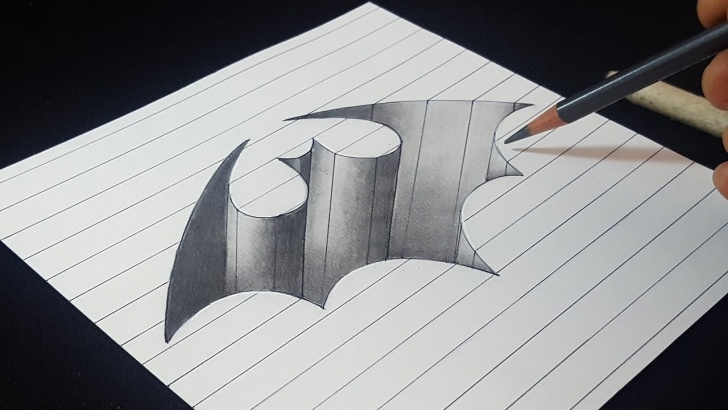 Excellent Pencil Shading Drawings For Beginners Techniques 3D Batman Logo Hole - Easy Trick Drawing - Pencil Shading Image