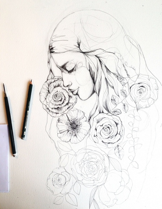 Excellent Pencil Sketch Of Flowers Techniques for Beginners Pencil Sketches + Flowers 2016 On Behance Pic
