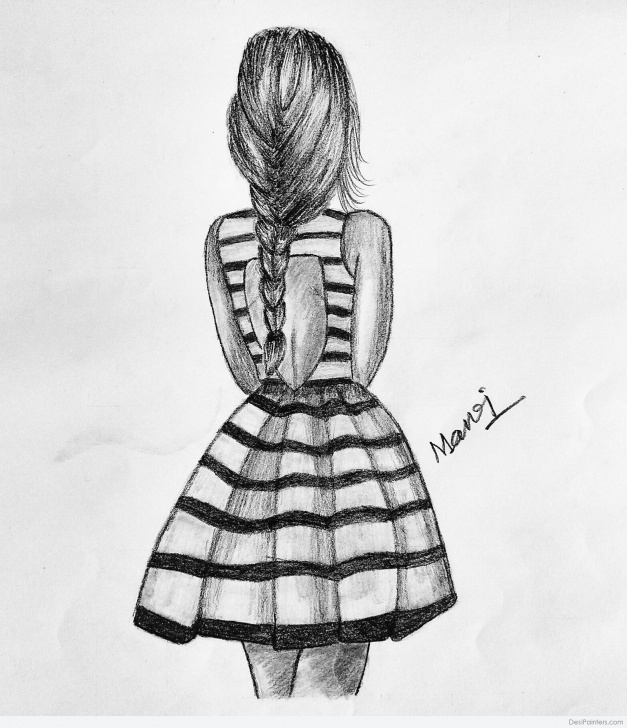 Excellent Pencil Sketch Of Girl Free Awesome Pencil Sketch Of Girl From Back | Desipainters Picture