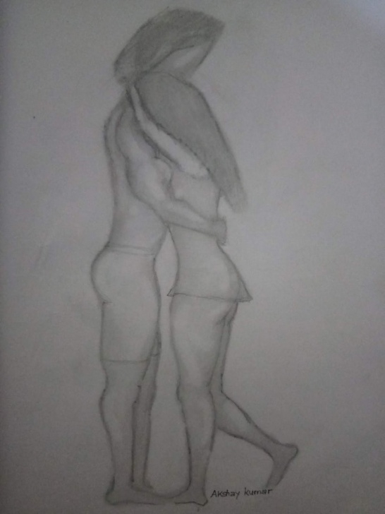 Excellent Pencil Sketch Of Kissing Couple Free Akshay Kumar: Color Pencil Drawing Of Romantic Love Couple By Artist Pic