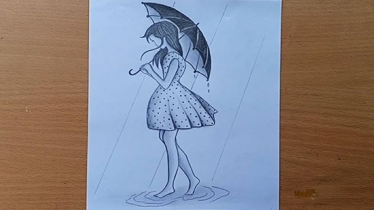 Excellent Pencil Sketch Of Rainy Season Simple How To Draw A Girl With Umbrella//a Rainy Day With Pencil Sketch. Pic