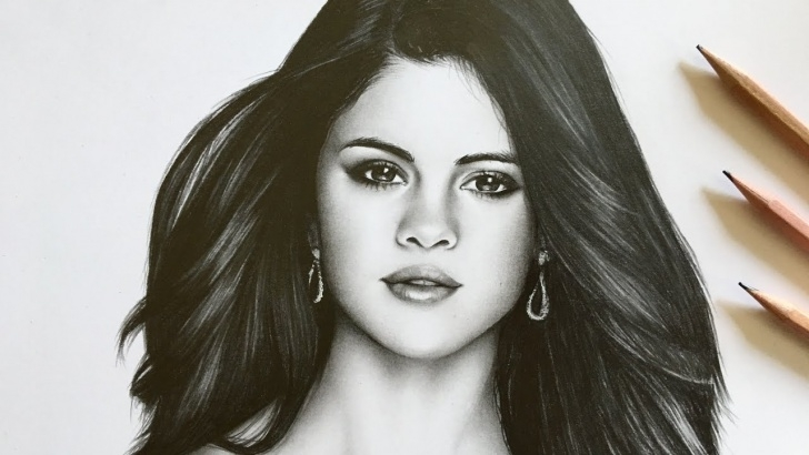 Excellent Selena Gomez Pencil Drawing Simple Drawing Selena Gomez | Realistic Graphite Drawing [Re-Upload] Picture