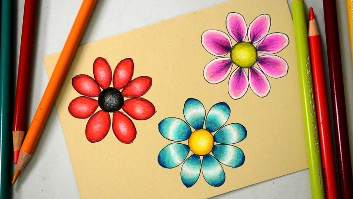 Excellent Shading Flowers With Colored Pencil Simple 3 Ways To Color A Basic Flower With Prismacolor Colored Pencils Image