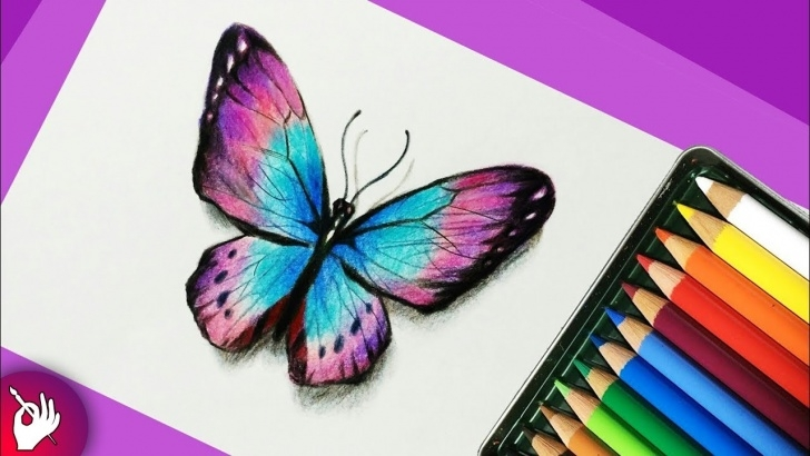 Excellent Simple Colour Pencil Drawing Easy How To Draw A Butterfly With Colored Pencils - Pencil Drawing Pic