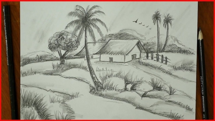 Excellent Simple Pencil Sketches Of Nature For Beginners Lessons Nature Drawing-Pencil Sketch-Village Landscape-For Exams-S.nagender Picture