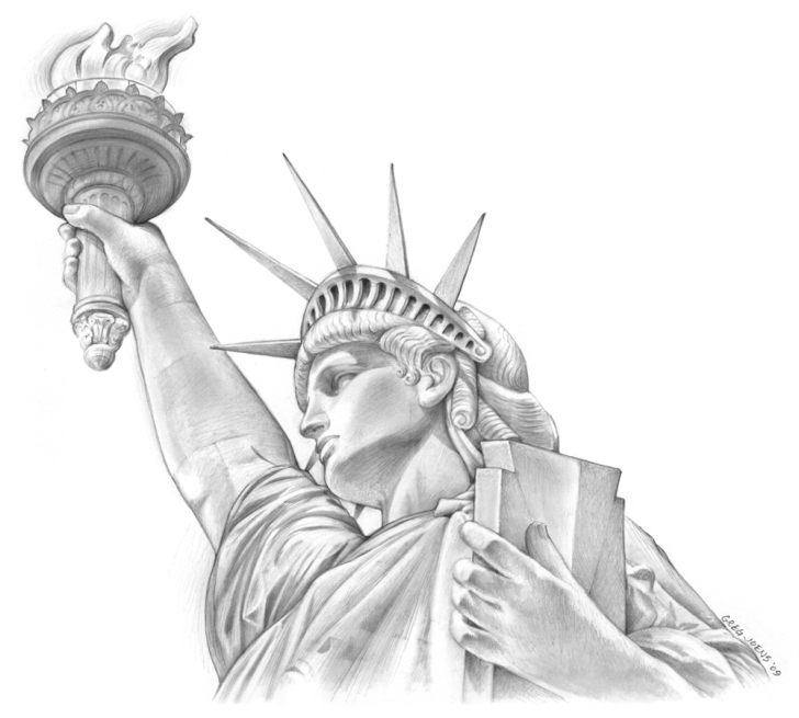 Excellent Statue Of Liberty Pencil Drawing Lessons Pin By Canvasone On Joens Art | Statue Of Liberty Drawing, Statue Of Pic