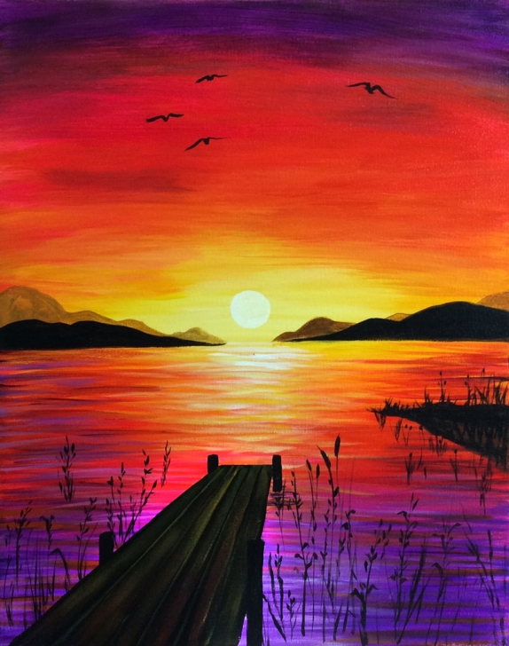 Excellent Sunset Drawing With Color Pencil Techniques Simple Sunset Landscape Drawing And Lakeside Sunset | Calming Images