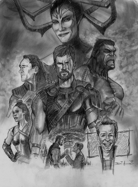 Excellent Thor Pencil Drawing Simple Thor Ragnarok (Original Pencil Drawing) Pic