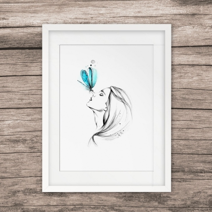 Excellent Wall Pencil Drawing Simple Us $5.6 |Girl With Butterfly Pencil Sketch Watercolor Painting Sweet Home  Poster Wall Art Decor Room Wall Hanging Art Pictures Gift E327-In Painting  & Pictures