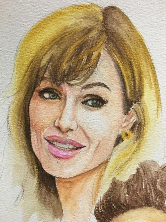 Excellent Watercolor Pencil Portrait Techniques for Beginners Angelina Jolie Watercolor Pencil Portrait | Paintings In 2019 Pictures