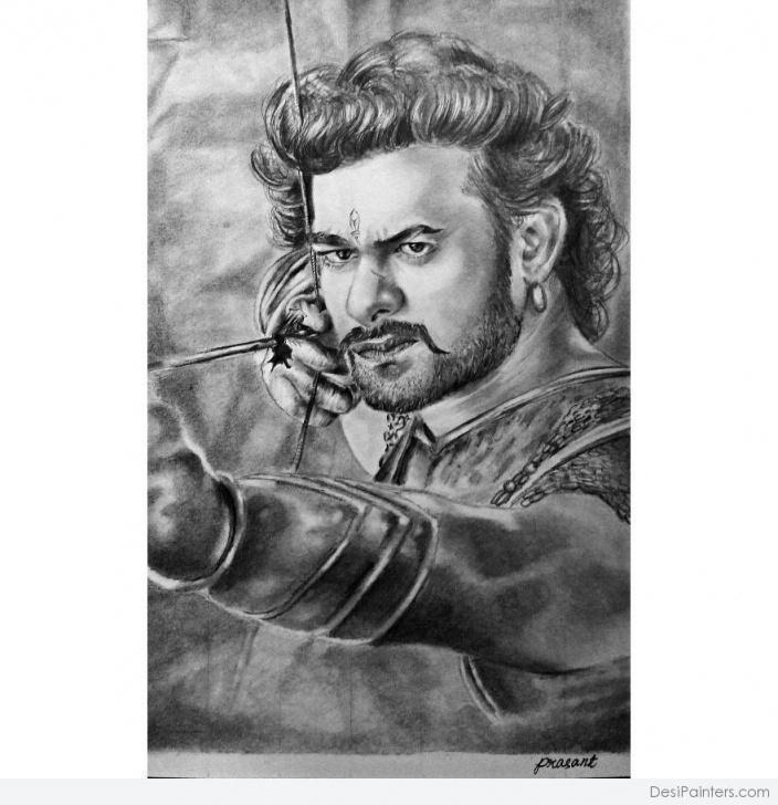 Excellent Wonderful Pencil Drawings Tutorial Wonderful Pencil Sketch Of Prabhas | Desipainters Pics