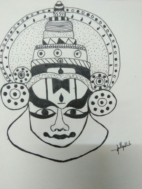 Excellent Yakshagana Pencil Sketch Courses Kathakali#pen Drawing#0.4 | My Art In 2019 | Easy Drawings, Drawings Image