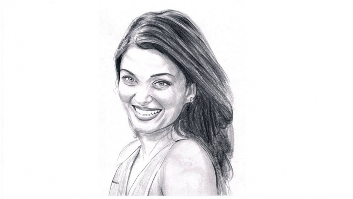 Fantastic Aishwarya Rai Pencil Sketch Tutorials Aishwarya Rai Drawing, Pencil, Sketch, Colorful, Realistic Art Images