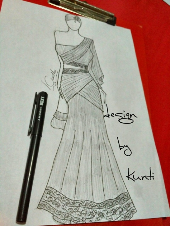 Fantastic Anarkali Dress Pencil Sketch Techniques for Beginners Indiandress | Indian Dress Sketch In 2019 | Fashion Sketches, Dress Photo