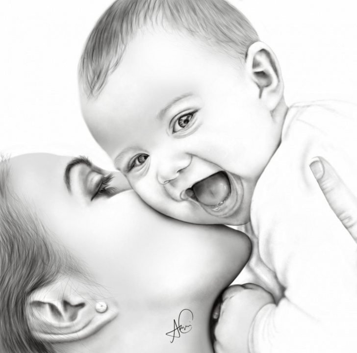 Fantastic Baby Drawings In Pencil Simple Pin By Rita Roberts On Drawing In 2019 | Baby Drawing, Mother, Baby Photo