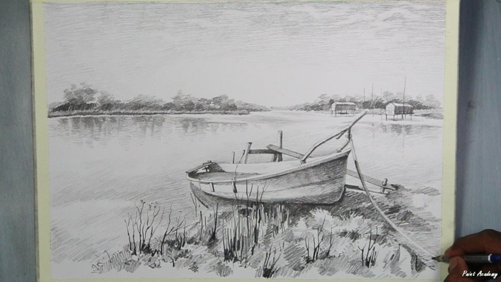 Fantastic Boat Pencil Drawing Easy How To Draw A Boat Landscape Step By Step With Pencil Pics