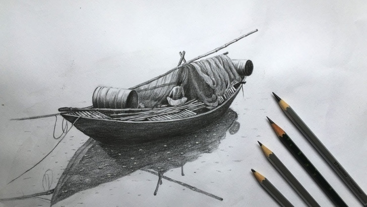 Fantastic Boat Pencil Sketch Ideas Drawing A Boat In Pencil Sketch | Fishing Boat Drawing Step By Step Picture