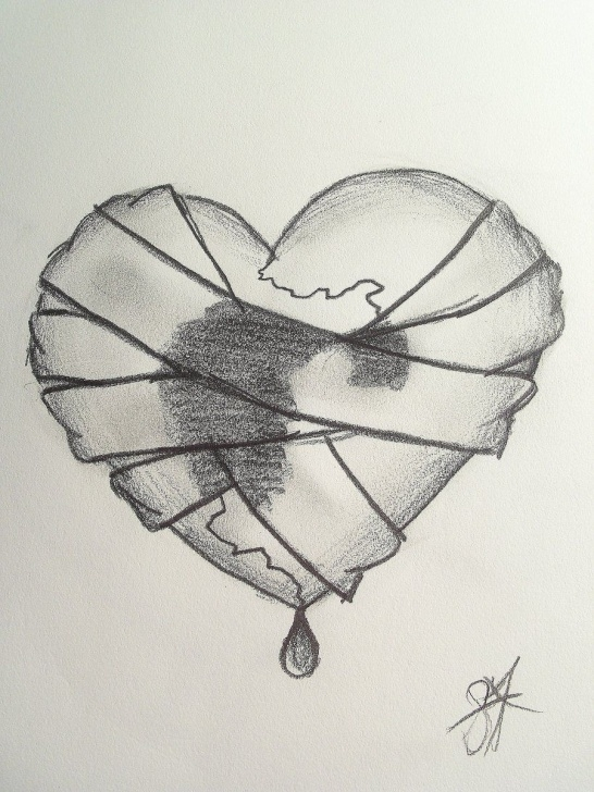 Fantastic Broken Heart Pencil Sketch Simple Really Detailed Broken Heart Sketches | Bandaged Heart By Dreamur Photo