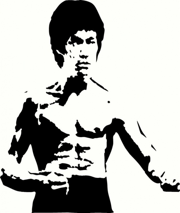 "Fantastic Bruce Lee Stencil Art Easy Bruce Lee Universal Vinyl Cut Out Decal, Sticker In Blk - 11"" By 13 Pics"