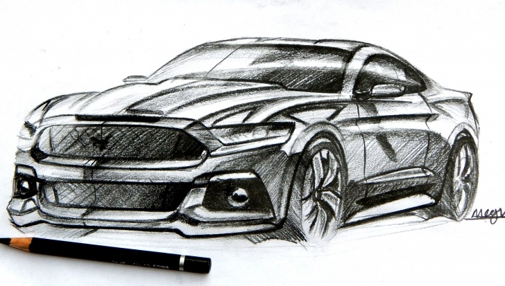 Fantastic Car Pencil Art Step by Step Ford Mustang Pencil Sketch | Sketches | Car Design Sketch, Car Photo
