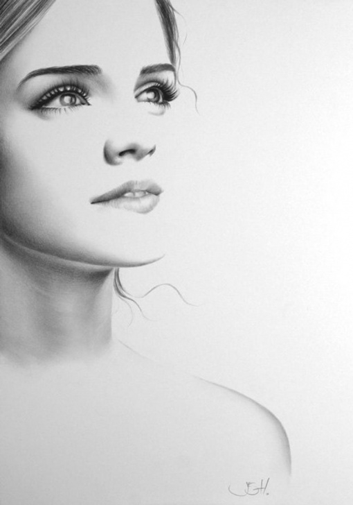 Fantastic Emma Watson Pencil Sketch for Beginners Emma Watson Pencil Drawing Fine Art Portrait Print Hand Signed Pic
