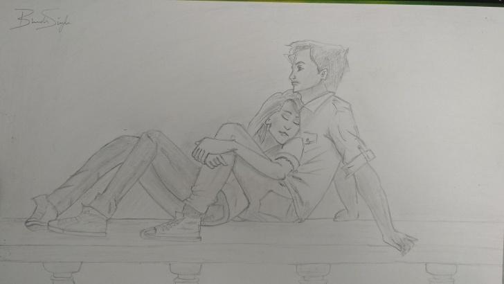 Fantastic Emotional Pencil Sketches Ideas Boy Girl Sad Love Story ✏️ Sketch Pencil Sketches Pencil Art Image