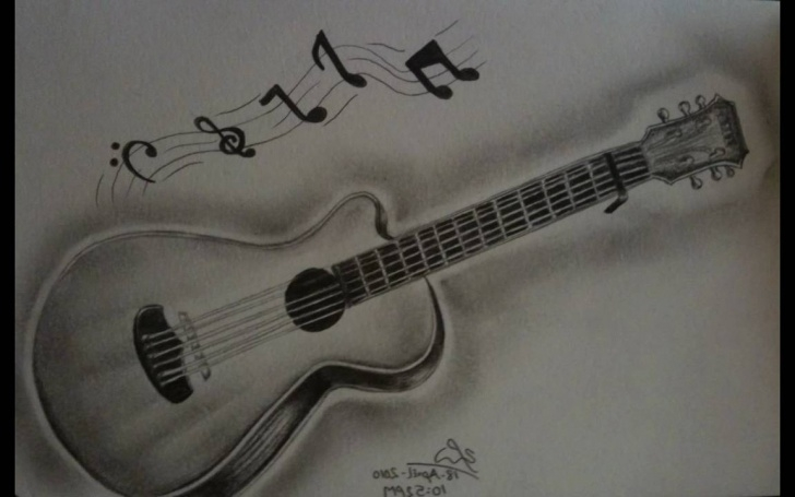 Fantastic Guitar Pencil Art Easy Guitar Paintings Search Result At Paintingvalley Pictures