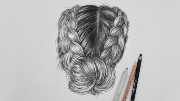 Fantastic Hair Pencil Drawing Simple Drawing Realistic Hair With Charcoal And A White Pastel Pencil Image
