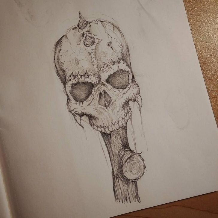 Fantastic Horror Pencil Sketches Techniques Demon Skull On A Stick. #art #horror #demon #skull #artist Pic