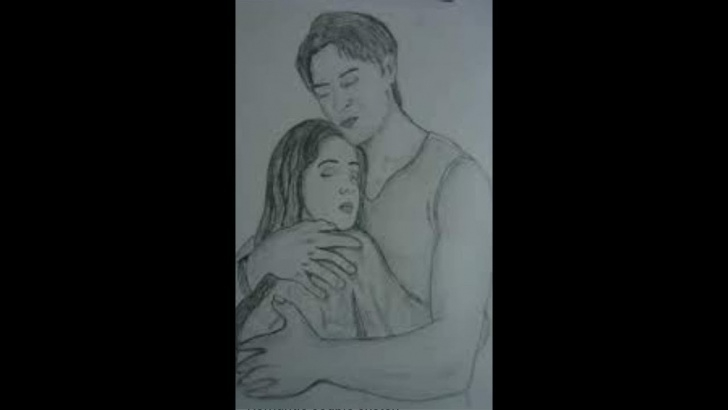 Fantastic Hug Pencil Sketch Simple Romantic Love Couple Hug Pencil Sketch. Animated Drawing. Pic