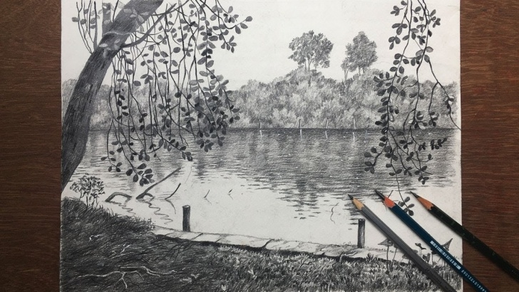 Fantastic Lake Pencil Drawing Techniques Easy Pencil Sketch Of A Landscape | Trees And Lake Drawing | Scenery Pencil  Sketch Pic