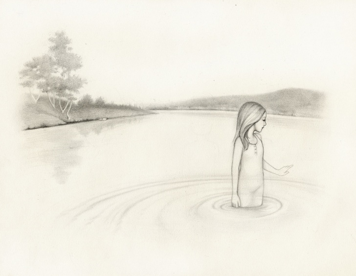 Fantastic Lake Pencil Drawing Tutorials Girl In Lake Pencil Drawing By Kirsten Kramer | Absolutearts Pictures