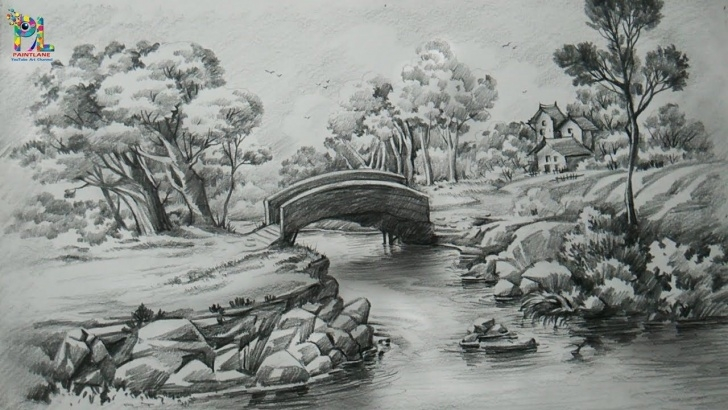 Fantastic Landscape Drawing With Pencil Shading Ideas How To Draw A Easy Landscape With Pencil Strokes | Pencil Shading Picture