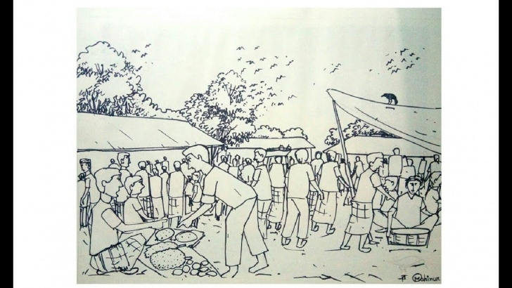 Fantastic Market Pencil Drawing Simple How To Draw A Village Market Step By Step For Students. Pictures