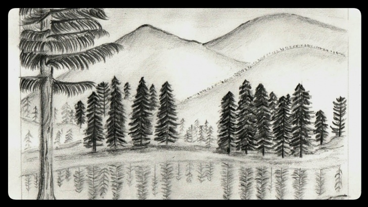 Fantastic Mountain Pencil Drawing for Beginners How To Draw A Misty Mountain Scenery By Pencil Sketch | Step By Step  Drawing Of A Lake At The Hill Images