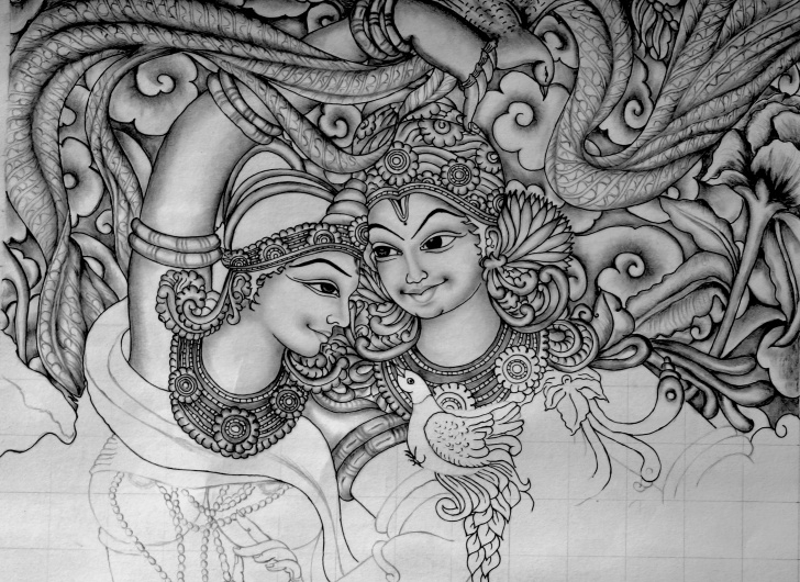 Fantastic Mural Pencil Drawings Ideas Kerala Mural Painting Sketches At Paintingvalley | Explore Pictures