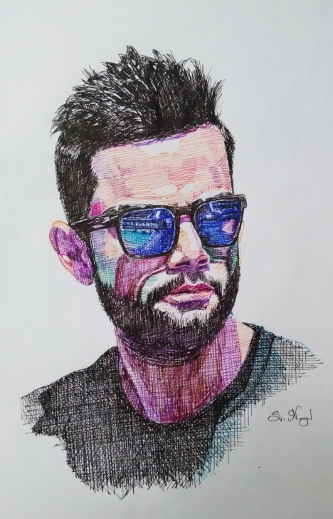 Fantastic Pen And Colored Pencil Drawings Techniques Color Pen Portrait Of Virat Kholi | Pencil & Pen Drawings | Pencil Pics