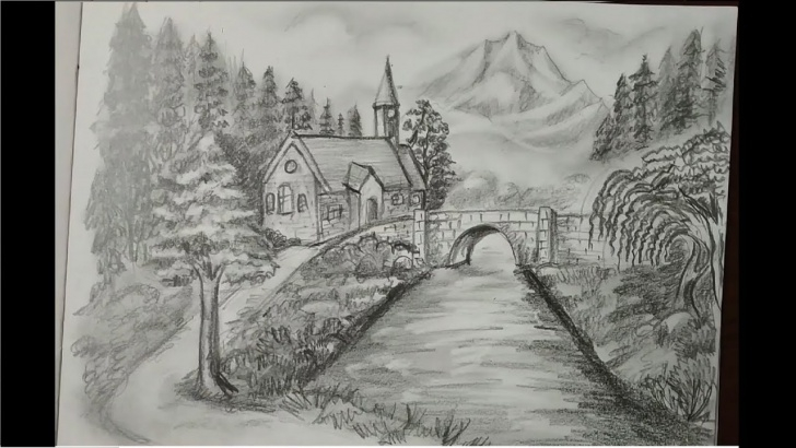 Fantastic Pencil Drawing Of Nature Beauty Simple Beautiful Nature Scenery Pencil Drawing Photo