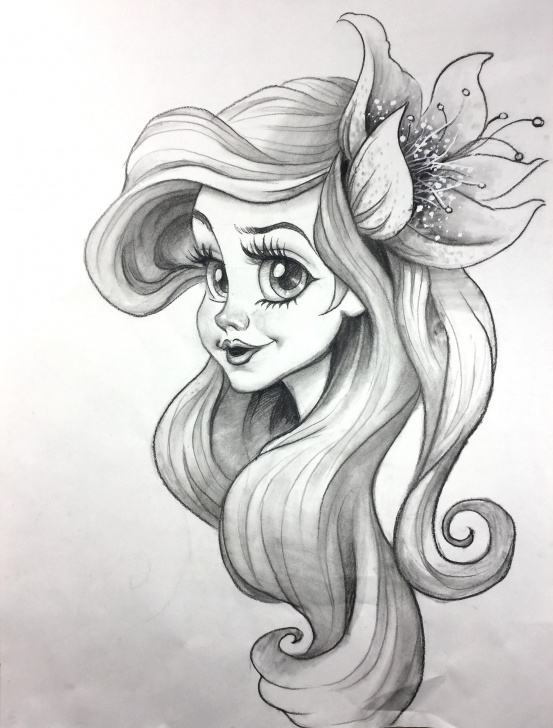 Fantastic Pencil Drawings Of Cartoon Characters Step by Step Little Mermaid Original Charcoal Pencil Drawing Cartoon Character Sketch  Charcoal Pencil Sketch Images