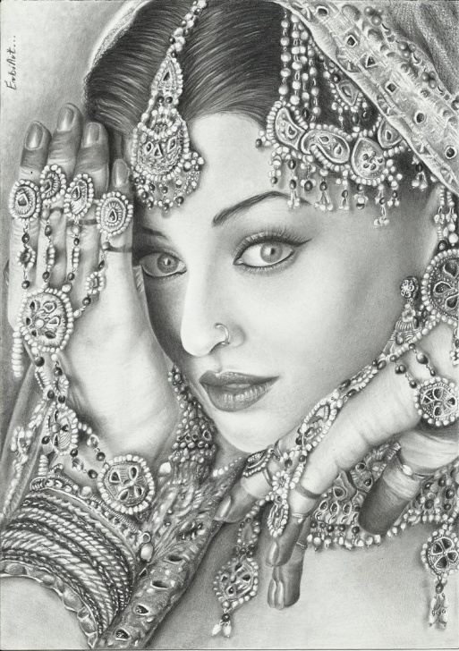 Fantastic Pencil Sketch Of Aishwarya Rai Techniques Aishwarya Rai Drawing, Pencil, Sketch, Colorful, Realistic Art Pics