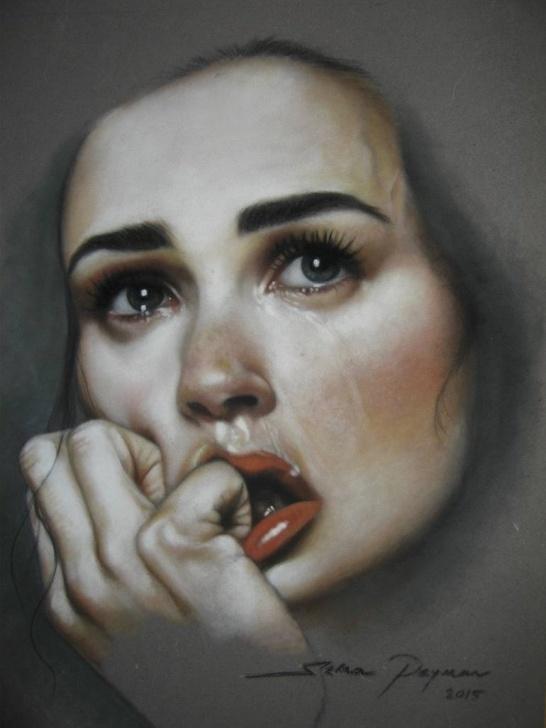 Fantastic Sad Portrait Drawing Techniques Sad Woman 35 X 50 Cm Soft Pastel On Velvet Paper Images