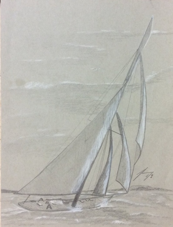 Fantastic Sailboat Pencil Drawing Techniques for Beginners Three Sails Sailboat - Original 8 X 10 Framed Pencil Drawing On Grey Paper Image