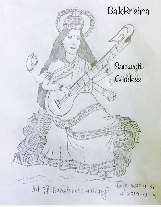 Fantastic Saraswati Pencil Sketch Courses Pencil Sketch Of Goddess Saraswati | Desipainters Pics